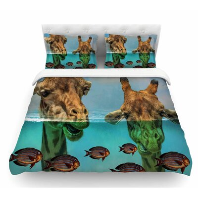 Larry and Fred Periscope by Suzanne Carter Mixed Media Animals Featherweight Duvet Cover Size: King
