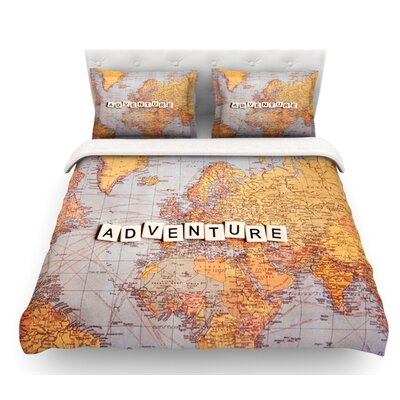 Adventure Map by Sylvia Cook World Featherweight Duvet Cover Size: King