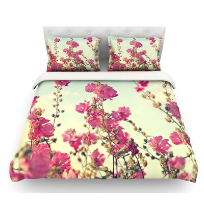 Lavatera by Sylvia Cook Flowers Sky Featherweight Duvet Cover Size: Queen