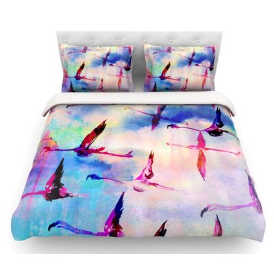 Flamingo in Flight by Nikki Strange Featherweight Duvet Cover Size: Queen