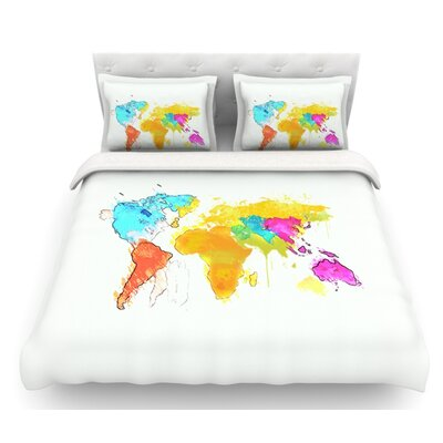 World Map by Oriana Cordero Rainbow Featherweight Duvet Cover Size: Queen