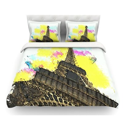 Eifel Bon Jour by Oriana Cordero Paris Featherweight Duvet Cover Size: Queen