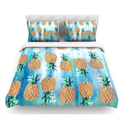 Pineapple Beach by Nikki Strange Featherweight Duvet Cover Size: Queen