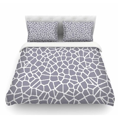 Staklo by Trebam Abstract Featherweight Duvet Cover Color: Gray/White, Size: Queen