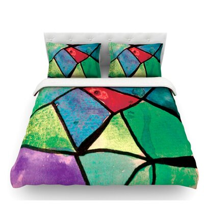 Stain Glass 1 by Theresa Giolzetti Featherweight Duvet Cover Size: Queen