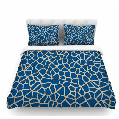 Staklo by Trebam Abstract Featherweight Duvet Cover Size: Queen, Color: Dark Blue/Coffee