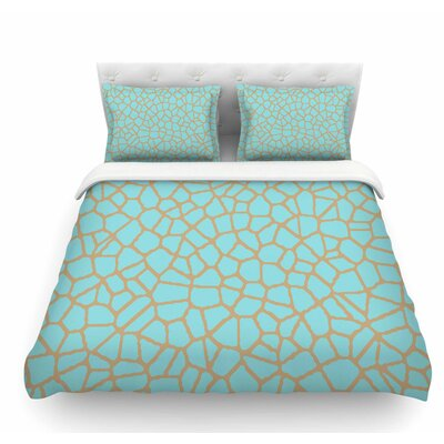 Staklo by Trebam Abstract Featherweight Duvet Cover Size: Twin, Color: Aqua/Gray