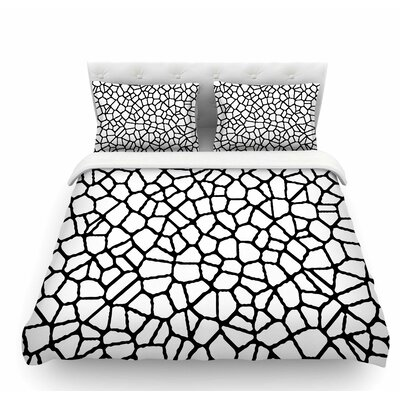Staklo by Trebam Abstract Featherweight Duvet Cover Size: Queen, Color: White/Black