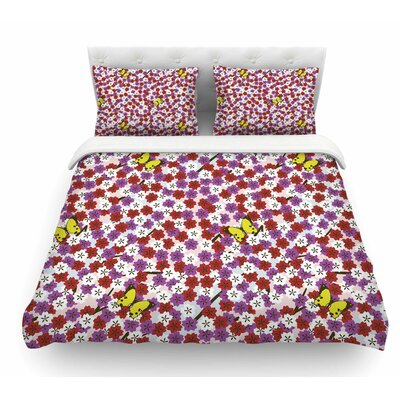 Cherry Blossom And Butterfly Featherweight Duvet Cover Size: Queen