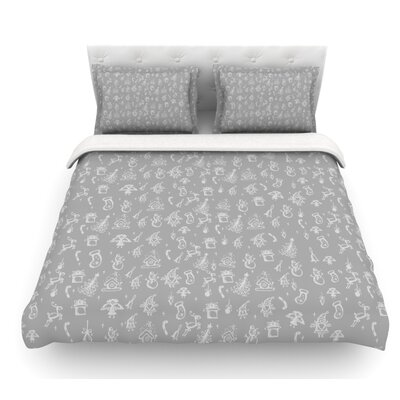 Miniature Christmas by Snap Studio Featherweight Duvet Cover Size: King, Color: White/Gray