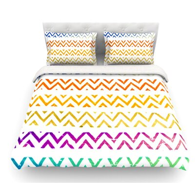 Chevron Add by Sreetama Ray Warm Chevrons Featherweight Duvet Cover Size: Queen