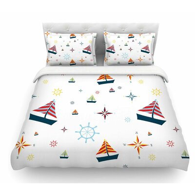 Sailing by Stephanie Vaeth Coastal Featherweight Duvet Cover Size: Queen