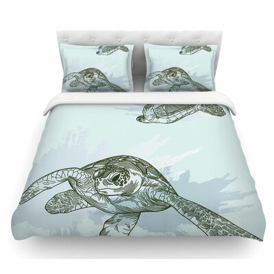 Sea Turtles by Sam Posnick Featherweight Duvet Cover Size: King