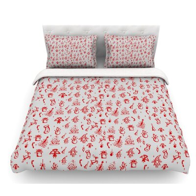 Miniature Christmas by Snap Studio Featherweight Duvet Cover Color: Gray/Red, Size: Queen