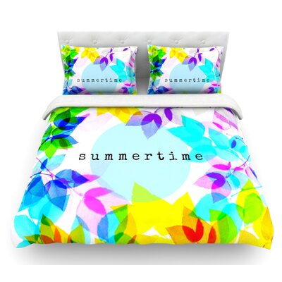 Seasons Summer by Sreetama Ray Rainbow Leaves Featherweight Duvet Cover Size: King