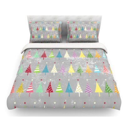 Crazy Trees by Snap Studio Rainbow Featherweight Duvet Cover Color: Rainbow, Size: Queen