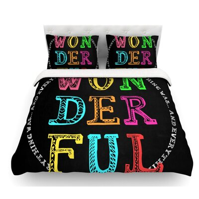 Wonderful by Skye Zambrana Rainbow Text Featherweight Duvet Cover Size: Queen
