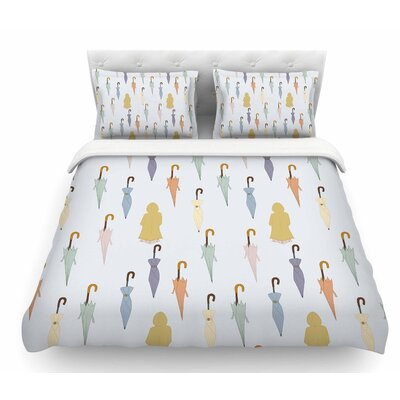 Umbrellas by Stephanie Vaeth Illustration Featherweight Duvet Cover Size: King