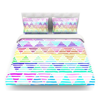 Stripes Cushion by Sreetama Ray Rainbow Chevron Featherweight Duvet Cover Size: Queen