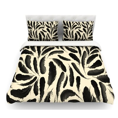 Feather by Skye Zambrana Featherweight Duvet Cover Size: Twin, Color: Beige/Black