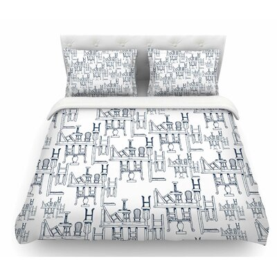 Tables and Chairs by Stephanie Vaeth Abstract Featherweight Duvet Cover Size: King