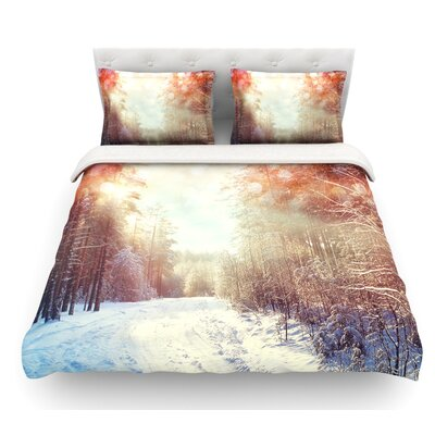Winter Walkway by Snap Studio Snowy Featherweight Duvet Cover Size: Queen