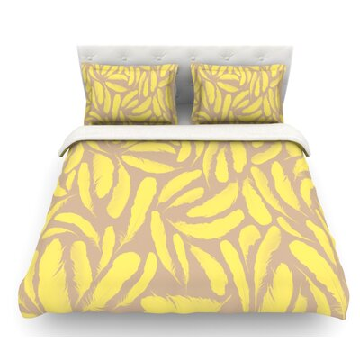 Feather by Skye Zambrana Featherweight Duvet Cover Color: Tan/Gold/Yellow, Size: Queen