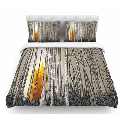 Smokey Forest Fire by Sam Posnick Featherweight Duvet Cover Size: Queen