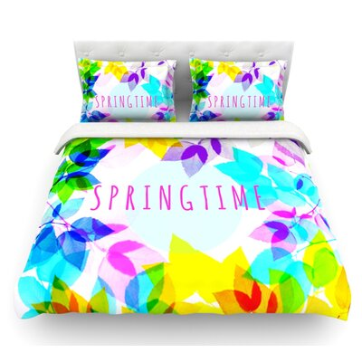 Seasons Springtime by Sreetama Ray Rainbow Leaves Featherweight Duvet Cover Size: King