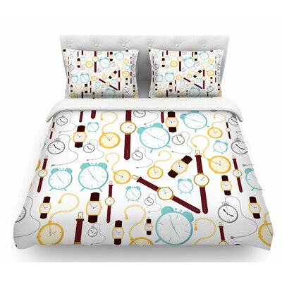 Clocks by Stephanie Vaeth Featherweight Duvet Cover Size: Twin
