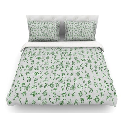 Miniature Christmas by Snap Studio Featherweight Duvet Cover Size: King, Color: Gray/Green