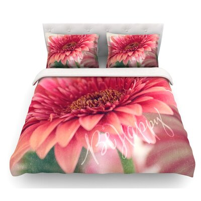 Be Happy by Robin Dickinson Floral Featherweight Duvet Cover Size: Queen