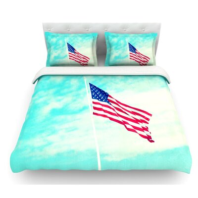 Usa Colors by Robin Dickinson Flag Featherweight Duvet Cover Size: Queen