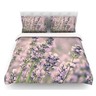 Smell the Flowers by Robin Dickinson Lavender Featherweight Duvet Cover Size: Twin
