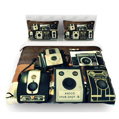 Through the Years by Robin Dickinson Vintage Camera Featherweight Duvet Cover Size: Queen