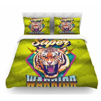 Super Furry Tiger Warrior by Roberlan Featherweight Duvet Cover Size: King