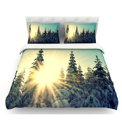 Shine Bright by Robin Dickinson Snowy Trees Featherweight Duvet Cover Size: Twin
