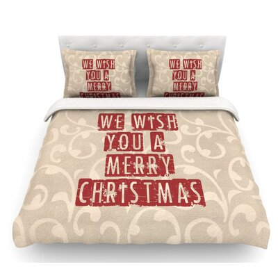 We Wish You a Merry Christmas by Sylvia Cook Holiday Featherweight Duvet Cover Size: Twin