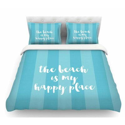 Beach is My Happy Place by Sylvia Cook Featherweight Duvet Cover Size: Twin, Color: Blue/Aqua