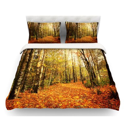 Autumn Leaves by Sylvia Cook Rustic Featherweight Duvet Cover Size: King