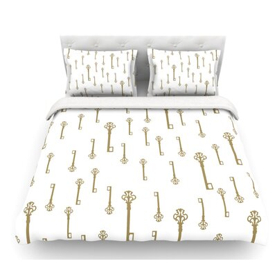 Vintage Gold Keys II by Suzanne Carter Featherweight Duvet Cover Size: King