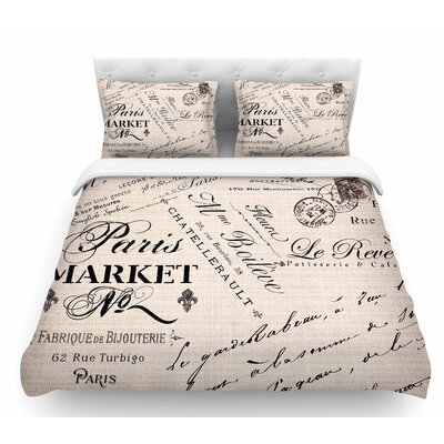 French Script by Sylvia Cook Handwriting Featherweight Duvet Cover Size: King
