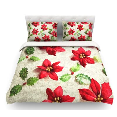 Poinsettia Leaves Featherweight Duvet Cover Size: King