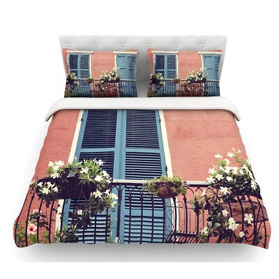New Orleans Balcony by Sylvia Cook Featherweight Duvet Cover Size: Queen