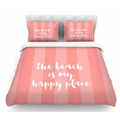 Beach is My Happy Place by Sylvia Cook Featherweight Duvet Cover Size: Queen, Color: Pink/Coral