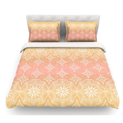 Medallion Ombre by Suzie Tremel Featherweight Duvet Cover Size: Queen, Color: Pink/Red