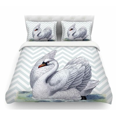 Vintage Swan by Suzanne Carter Bird Chevron Featherweight Duvet Cover Size: Twin