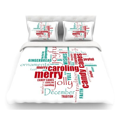 Yuletide by Sylvia Cook Christmas Featherweight Duvet Cover Size: King