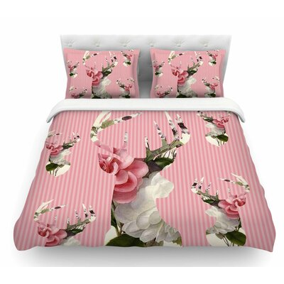 Floral Deer by Suzanne Carter Featherweight Duvet Cover Size: Twin