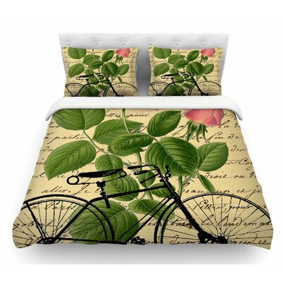 Vintage Cycle by Suzanne Carter Floral Featherweight Duvet Cover Size: Twin
